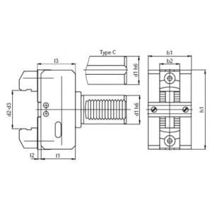 Механический держатель прутка для токарных станков ЧПУ с цилиндрическим хвостовиком BOT 25/6 - 56 мм